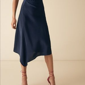 REISS Navy Silk Skirt Size US8